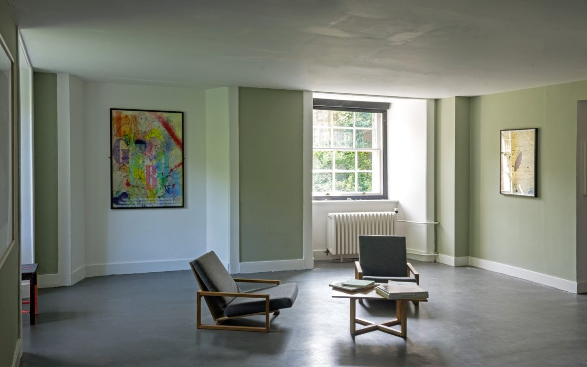 Installation view, I still believe in miracles, Inverleith House, Royal Botanic Garden Edinburgh (Corin Sworn & Tony Romano, 'The Coat (Italian Version)', 2015 (Courtesy the artists, Koppe Astner, Natalia Hug Gallery, Clint Roenish); Ciara Philips, 'And More' 2013 (Courtesy the artist)).