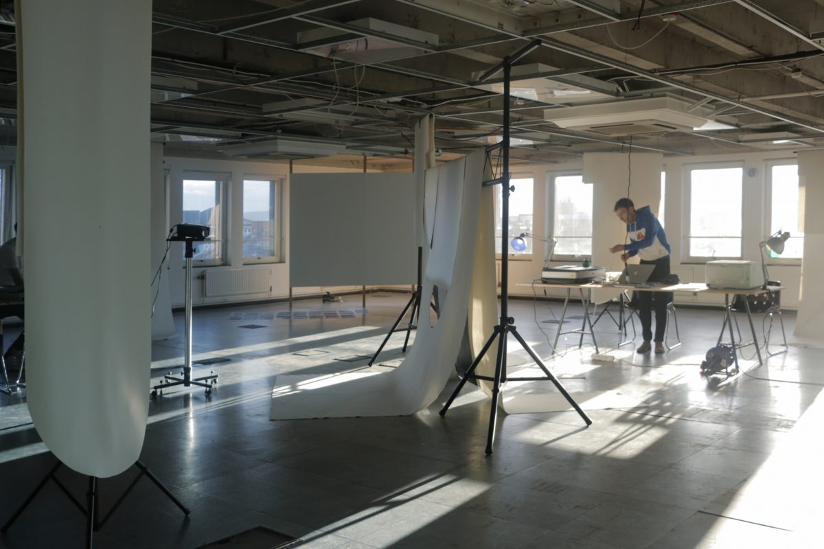 FRIEND, YOU STAND ON SACRED GROUND... THIS IS A PRINTING OFFICE. Install shots of performance/printing workshop at The Northern Charter, Newcastle upon Tyne. 7–9 October 2016. Image courtesy of Giles Bailey & CIRCA Projects.